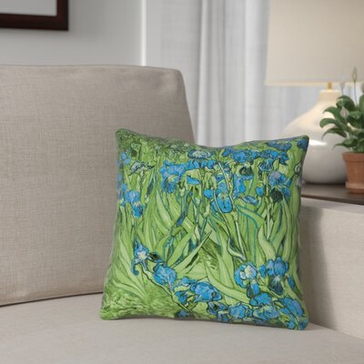 Morley Irises Double Sided Print Pillow Cover Color: Blue/Green, Size: 14 x 14