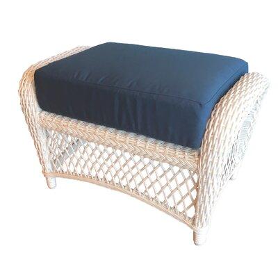 Elkin Ottoman Color: White, Cushion Color: Sapphire Blue