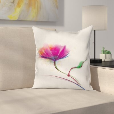 Watercolor Poppy Flower Square Pillow Cover Size: 18 x 18