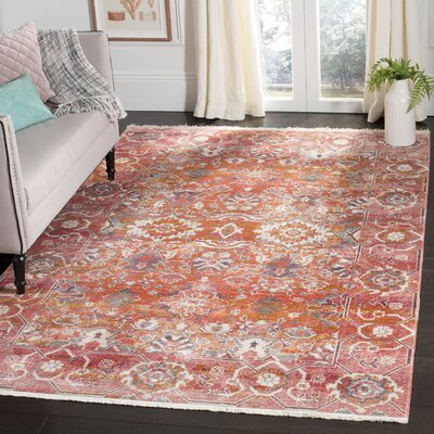 Mullens Persian Red/Orange Area Rug Rug Size: Rectangle 4 x 6