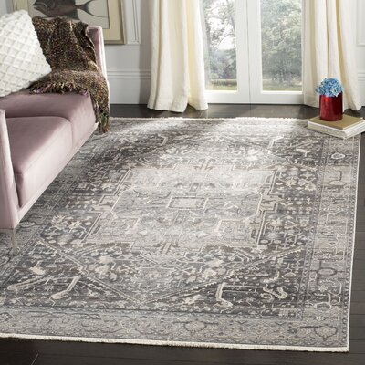 Mullens Persian Gray/Charcoal Area Rug Rug Size: Rectangle 4 x 6