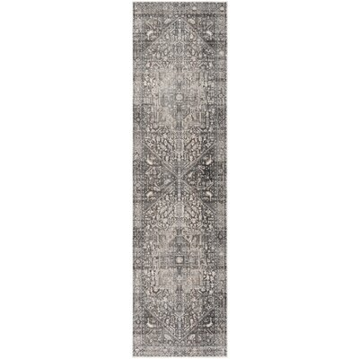 Mullens Persian Gray/Charcoal Area Rug Rug Size: Runner 22 x 12