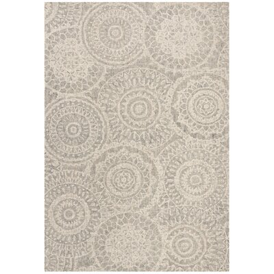 Hanner Abstract Hand-Tufted Wool Ivory/Gray Area Rug Rug Size: Rectangle 9 x 12