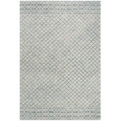 Costin Abstract Hand-Tufted Wool Blue/Ivory Area Rug Rug Size: Rectangle 4 x 6
