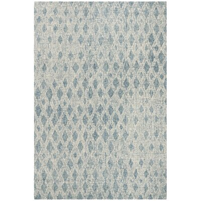 Hannibal Abstract Hand-Tufted Wool Ivory/Blue Area Rug Rug Size: Rectangle 8 x 10
