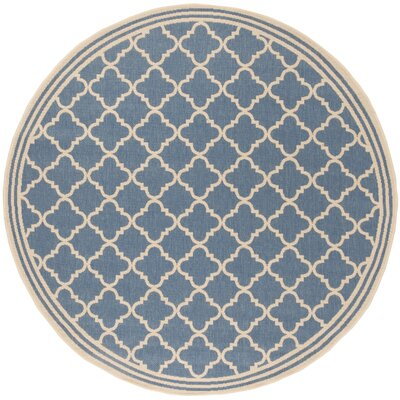 Sherell Blue/Creme Area Rug Rug Size: Round 67