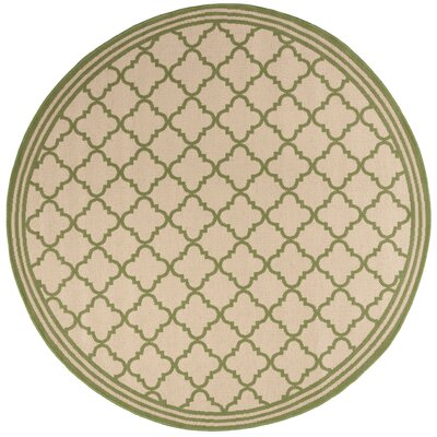 Sherell Cream/Olive Area Rug Rug Size: Round 67