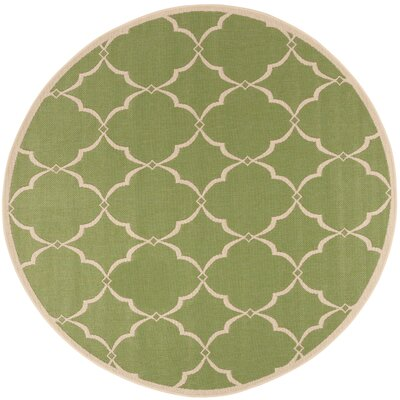 Croker Olive/Cream Area Rug Rug Size: Round 67