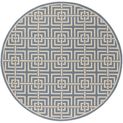 Horsholm Blue/Cream Area Rug Rug Size: Round 67