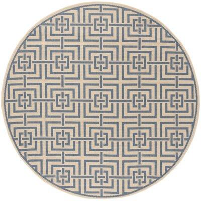Horsholm Cream/Blue Area Rug Rug Size: Round 67