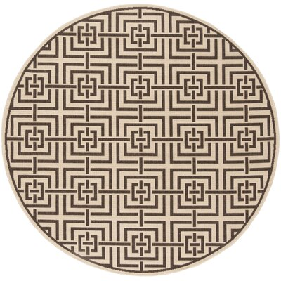 Horne Cream/Brown Area Rug Rug Size: Round 67
