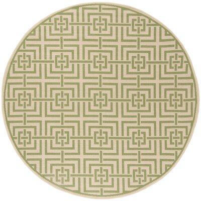 Horne Cream/Olive Area Rug Rug Size: Round 67