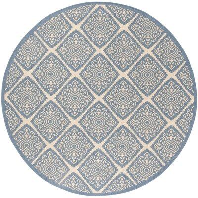 Mullenix Cream/Blue Area Rug Rug Size: Round 67