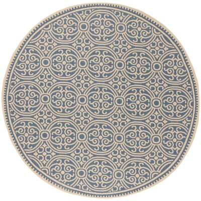 Sherell Cream/Blue Area Rug Rug Size: Round 67