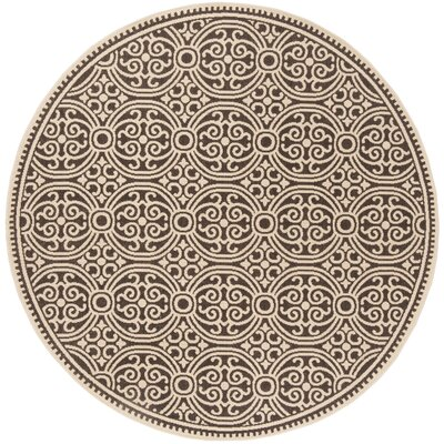 Sherell Cream/Brown Area Rug Rug Size: Round 67