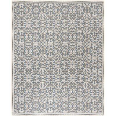 Sherell Cream/Blue Area Rug Rug Size: Rectangle 8 x 10