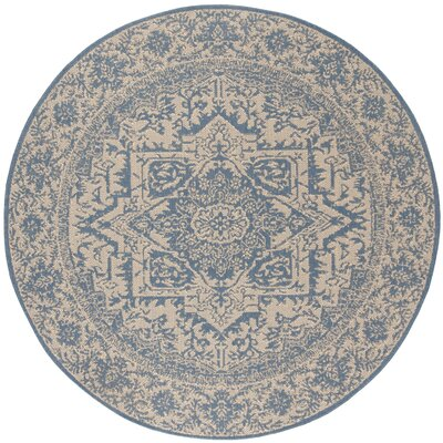 Dunnyvadden Cream/Blue Area Rug Rug Size: Round 67