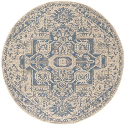 Dunnyvadden Blue/Cream Area Rug Rug Size: Round 67