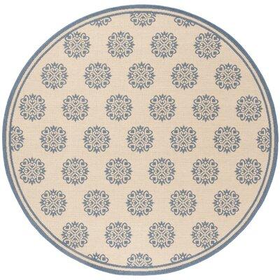 Croker Blue/Cream Area Rug Rug Size: Round 67