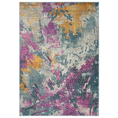 Doucette Blue/Yellow Area Rug Rug Size: Rectangle 4 x 6