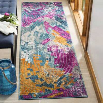 Doucette Blue/Yellow Area Rug Rug Size: Runner 23 x 8
