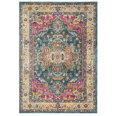 Doucette Blue/Pink Area Rug Rug Size: Rectangle 3 x 5