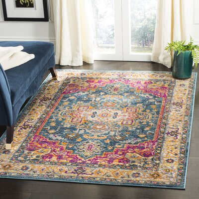 Doucette Blue/Pink Area Rug Rug Size: Rectangle 51 x 76