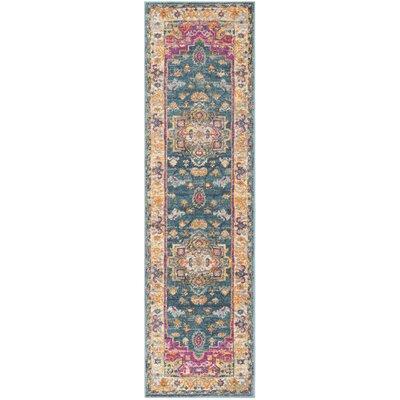 Doucette Blue/Pink Area Rug Rug Size: Runner 23 x 8