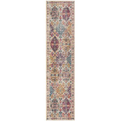 Doucet Pink/Cream Area Rug Rug Size: Runner 2 x 8