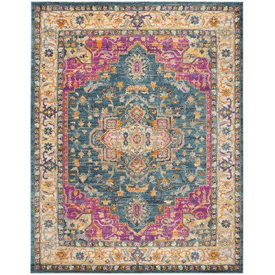 Doucette Blue/Pink Area Rug Rug Size: Rectangle 8 x 10