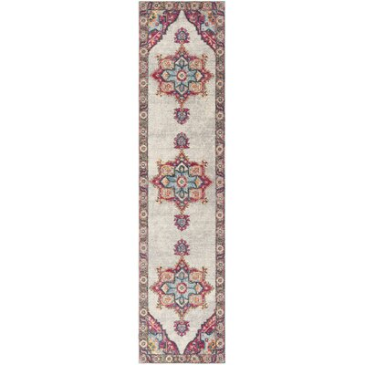 Doucet Cream/Pink Area Rug Rug Size: Runner 2 x 8