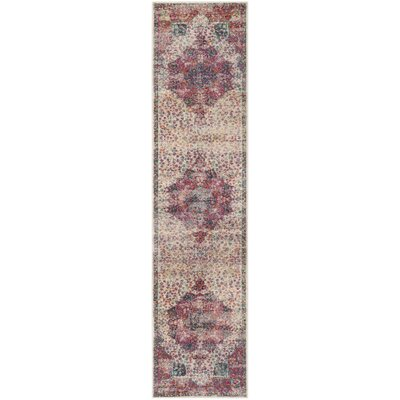 Doucet Cream/Red Area Rug Rug Size: Runner 2 x 8
