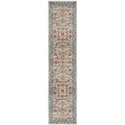 Doucet Cream/Blue Area Rug Rug Size: Runner 2 x 8