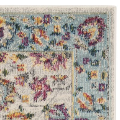 Doucet Cream/Blue Area Rug Rug Size: Rectangle 4 x 6