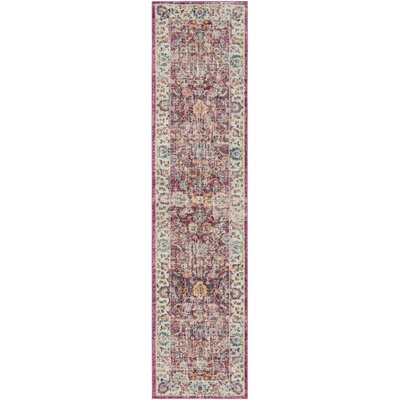 Doucet Red/Gray Area Rug Rug Size: Runner 2 x 8