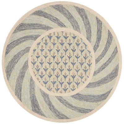 Harbuck Hand-Tufted Gray/Blue Area Rug Rug Size: Round 5