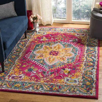 Dostie Red/Yellow Area Rug Rug Size: Rectangle 51 x 76