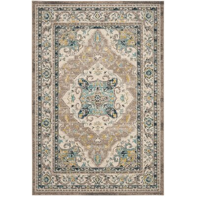 Dostie Ivory/Gray Area Rug Rug Size: Rectangle 4 x 6