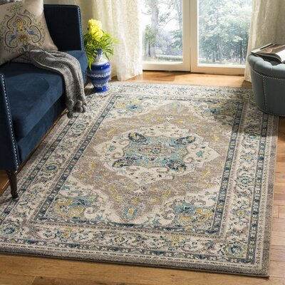 Dostie Ivory/Gray Area Rug Rug Size: Rectangle 3 x 5