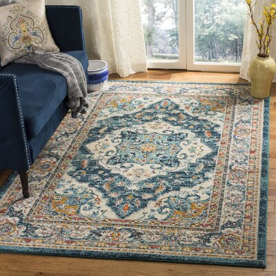 Dostie Ivory/Blue Area Rug Rug Size: Rectangle 4 x 6