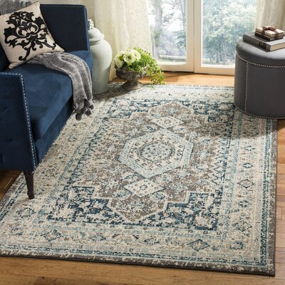 Dostie Gray/Blue Area Rug Rug Size: Rectangle 51 x 76