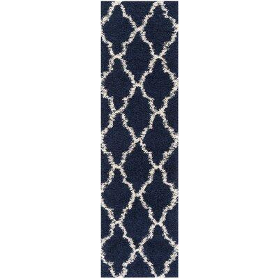 Hibbler Shag Blue/Ivory Area Rug Rug Size: Runner 23 x 8