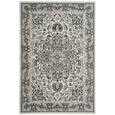 Doty Gray/Ivory Area Rug Rug Size: Rectangle 6 x 9