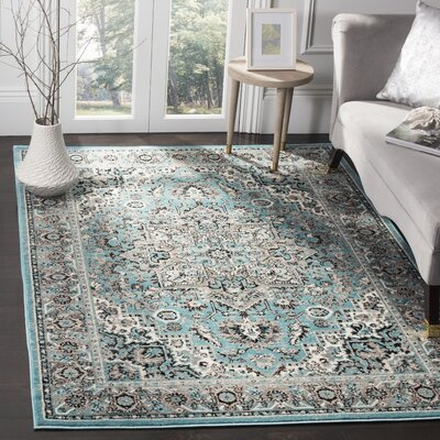 Doty Blue/Ivory Area Rug Rug Size: Rectangle 3 x 5