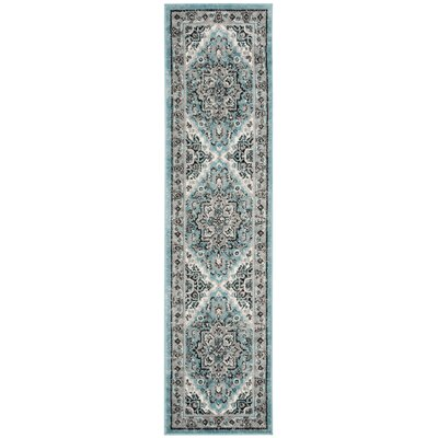 Doty Blue/Ivory Area Rug Rug Size: Runner 2 x 8