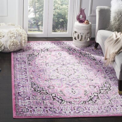 Doty Pink/Ivory Area Rug Rug Size: Rectangle 51 x 76