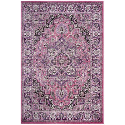 Doty Pink/Ivory Area Rug Rug Size: Rectangle 4 x 6