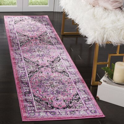 Doty Pink/Ivory Area Rug Rug Size: Runner 2 x 8