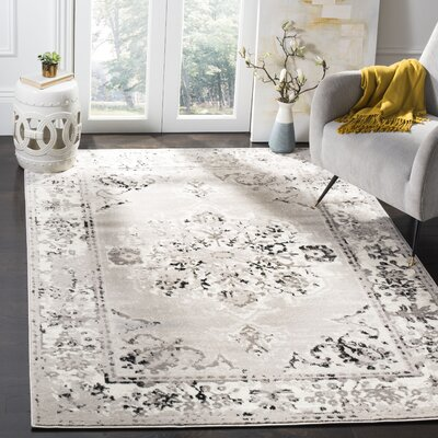 Doty Gray/Ivory Area Rug Rug Size: Rectangle 8 x 10