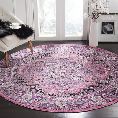 Doty Pink/Ivory Area Rug Rug Size: Round 67
